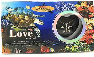 1 TURTLE Love Wish Pearl Necklace Set Oyster Clam Pendant Valentine Girlfriend  (Love Clams)