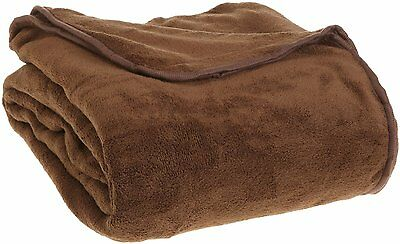 All Seasons Collection Micro Fleece Plush Solid F/Q Blanket, Chocolate...