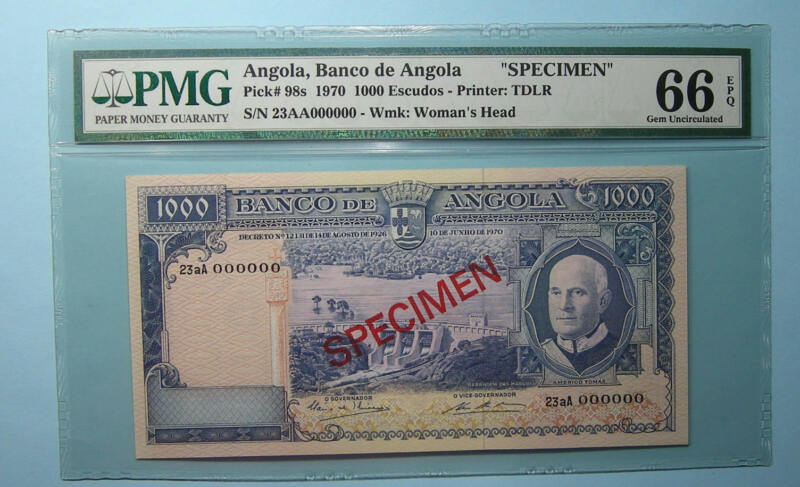1970 ANGOLA 1000 ESCUDOS P 98s SPECIMEN PMG 66 EPQ INV#PM110-28