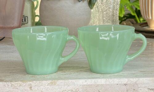 2 Fire King Jadeite Green Shell Swirl Pattern Retro Mid CenturyTea Coffee Cups