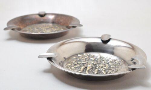 Matching Two Dutch Silverplate Ashtray Holland