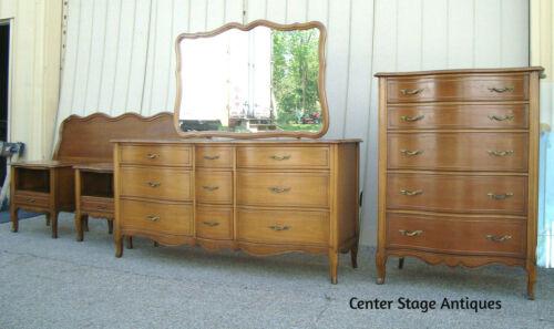 60875 French Provincial Bedroom Set High Chest Dresser w/ Mirror, King headboard