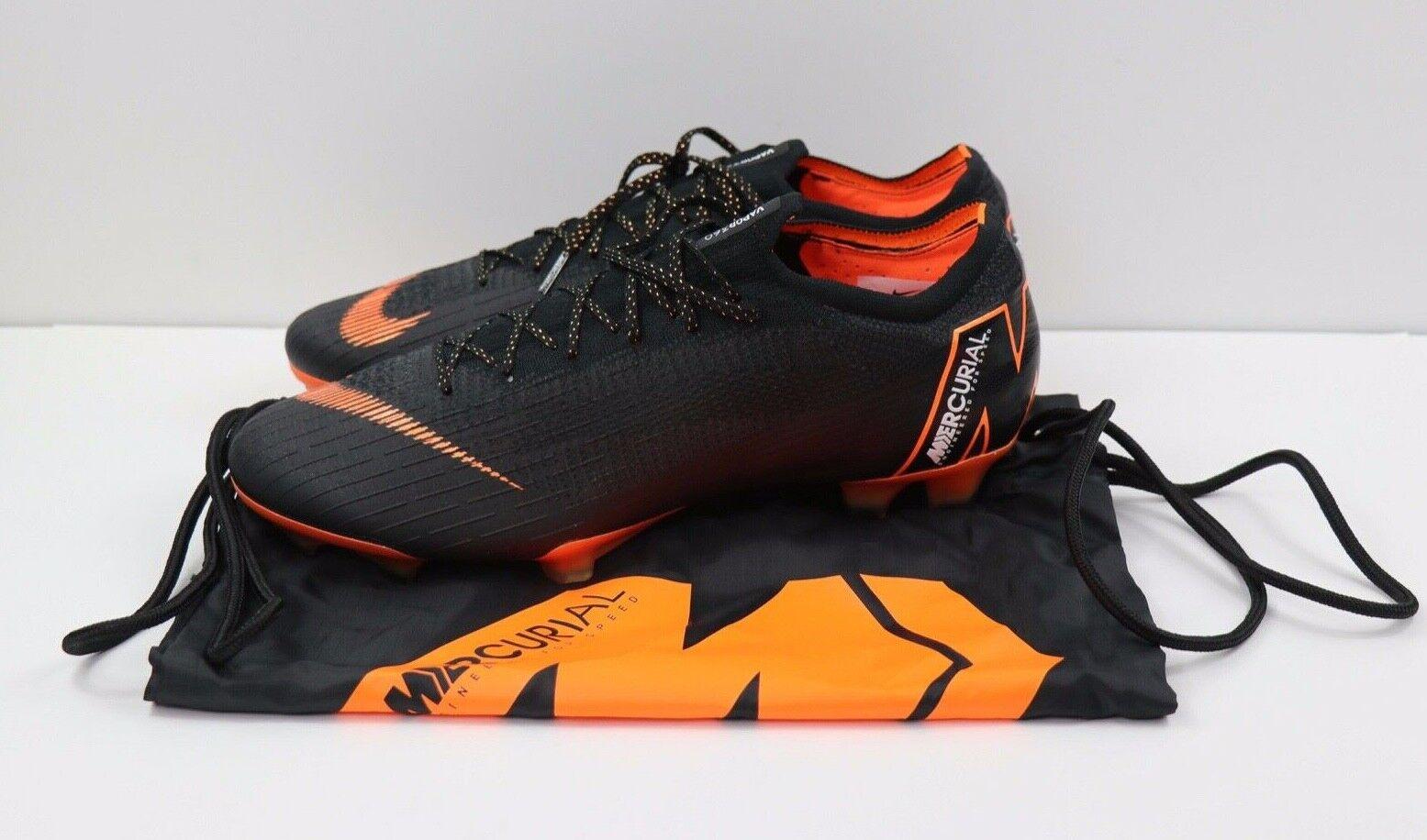 Nike Mercurial Vapor 12 360 Elite FG Black Orange Cleats AH7380-082 Mens Sz 12.5