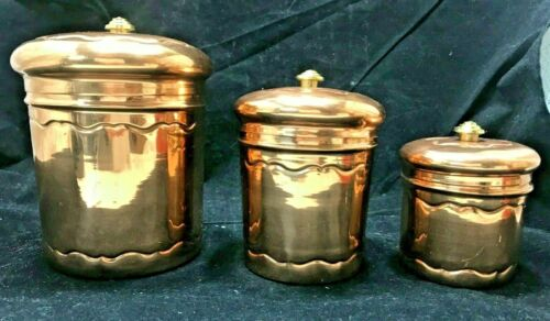 Vintage Copper Canisters, Set of 3, Stainless Steel Interiors Made in India