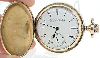 Antique 18 Size Elgin 11J Manual Wind Hunter Pocket Watch 20 Year Gold Filled