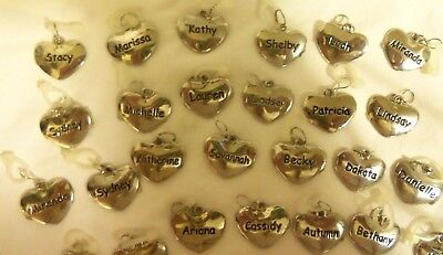 GIRLS PERSONALIZED HEART CHARMS BY GANZ-STAINLESS STEEL-WORTH $14-SHIPS FREE