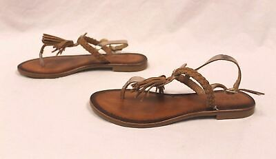 Inuovo Womens Tassel Detail Sandals 7234 Gold/Coconut GG8 Size Eur:39 US:8.5 NWT