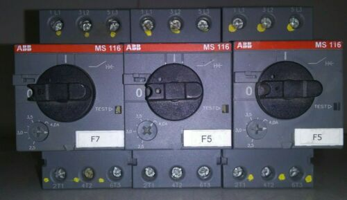 3 USED ABB MS116 MANUAL MOTOR STARTERS ***MAKE OFFER***