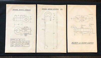 3 X Harland & Wolff Belfast 1930's Drawings TUMBLER SPANNER WINCH GUIDE  - RF09