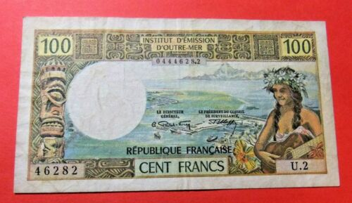 1971 Tahiti Papeete 100 FRANCS Bank Note - VF