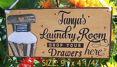 (LAUNDRY ROOM SIGN PERSONALIZED NAME DROP YOUR DRAWERS HERE WASH TUB COUNTRY PRIM)