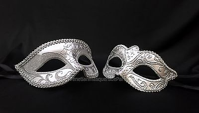 Couple Dress Up (Couple Black Silver Masquerade mask pair Dress up birthday bachelor)