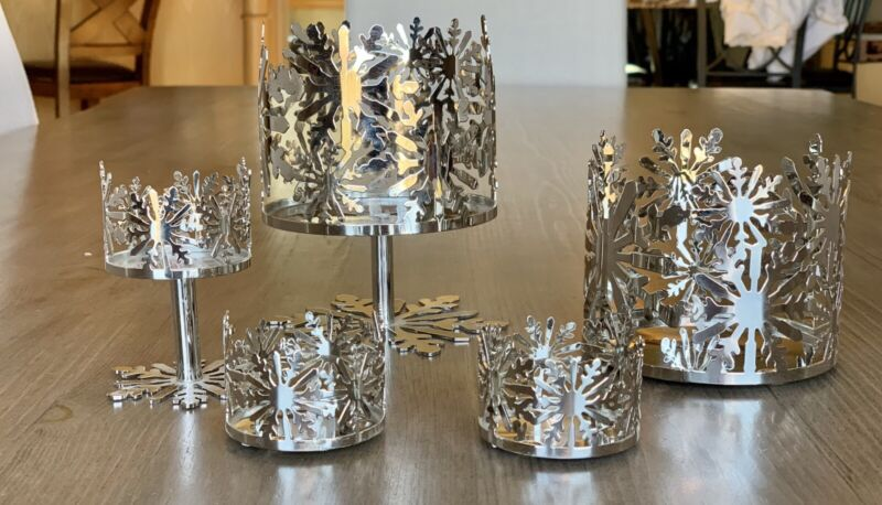 Set 5 Bath And Body Works Silver Snowflake Candle Holders Collection RARE NEW!