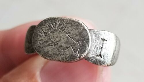 Ancient Roman Empire Legionary Solid Silver Ring Legio I Italica Emperor Nero