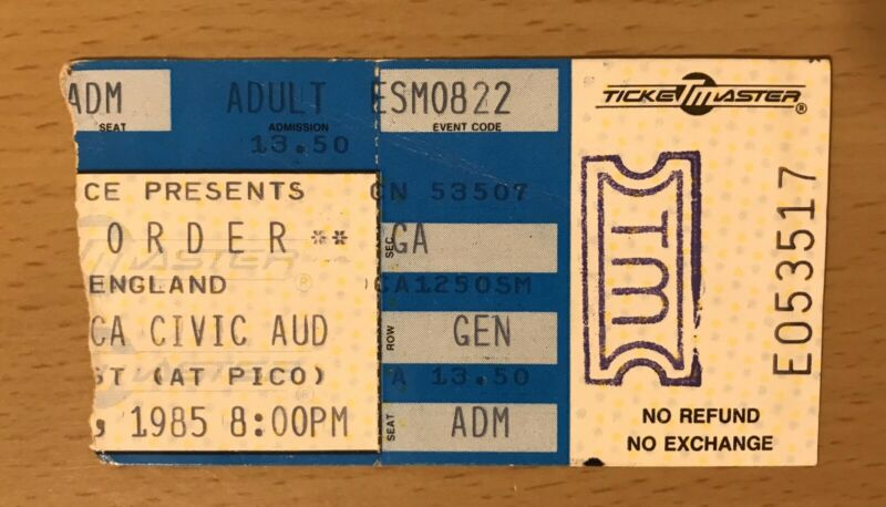 1985 NEW ORDER SANTA MONICA CONCERT TICKET STUB JOY DIVISION BLUE MONDAY SUMNER