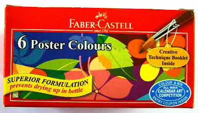 Faber Castell Poster Colors  6 Shades (10ML each)  6 Color Set  Poster Colors