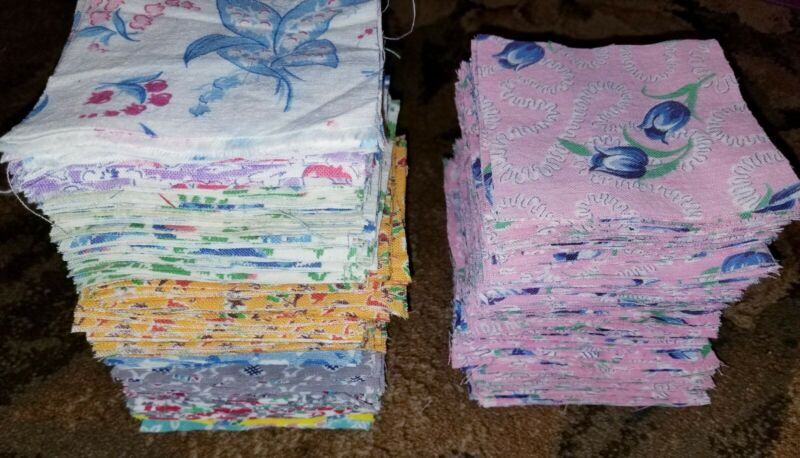 "522 Pc Vintage Feedsack Flower Print Fabric 4"" Quilt Blocks LOT"