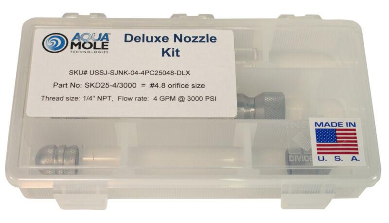 """Aqua Mole 4pc Sewer Squad Deluxe Jetter Nozzle Kit 1/4"""" NPT 3000 PSI 4.8 Orifice"""