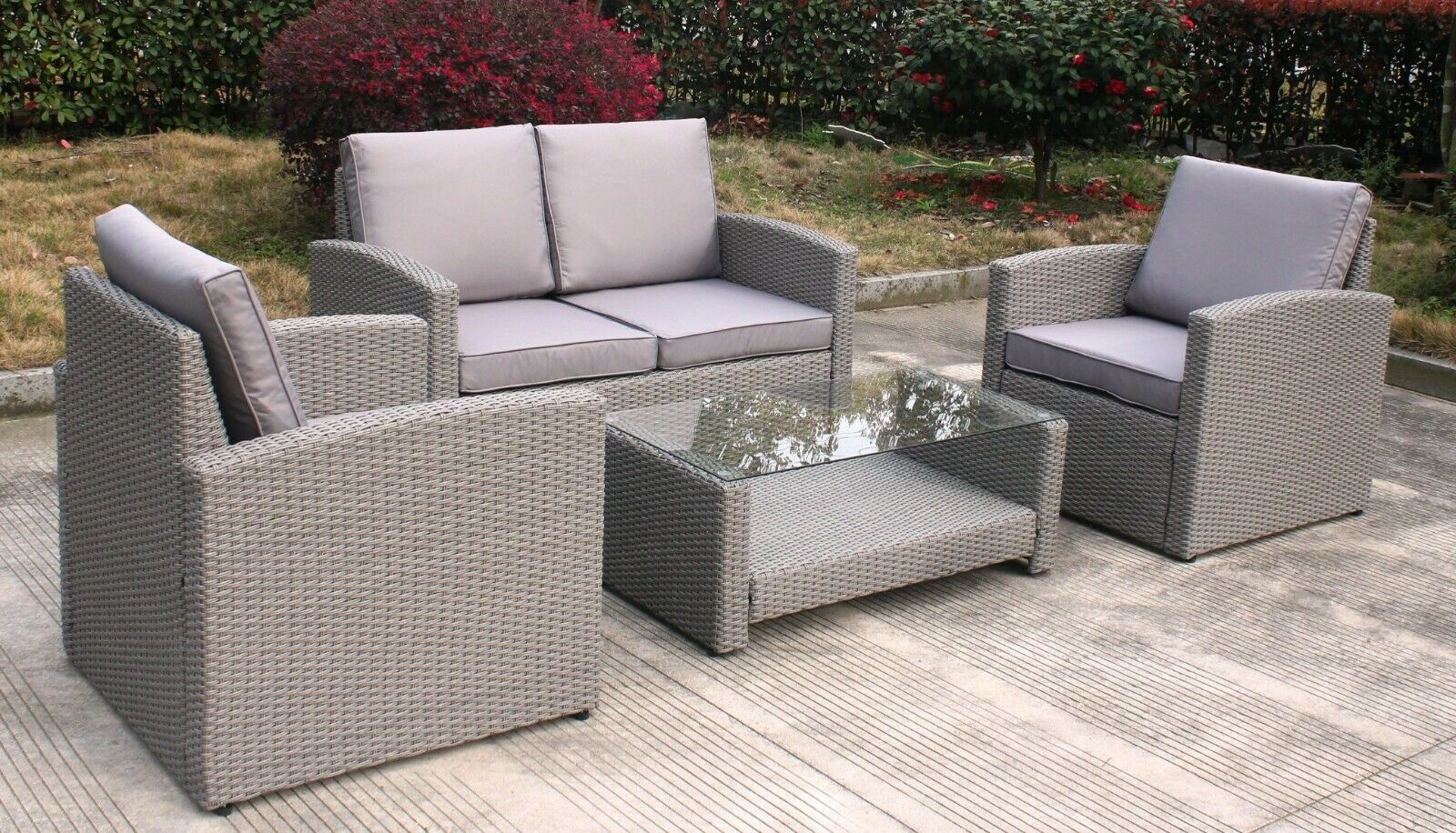 Garden Furniture - Outdoor Sofa Set Grey Rattan Wicker Garden Furniture 4 Piece Chairs Table Sofa