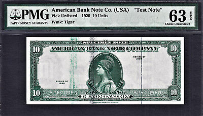"1929 AMERICAN Bank Note Company ""TEST NOTE"" SPECIMEN $10 Ch UNC PMG 63 EPQ"