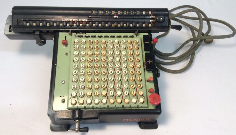 Monroe High Speed Adding Calculator Machine Antique Vintage With Cord