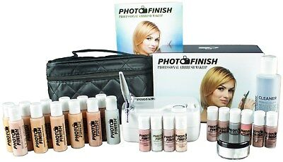 Photo Finish Professional Airbrush Makeup System Kit / Fair to Medium Shades 5pc Foundation Set with Blush, shimmer & concealer- Chose Matte or Luminous Finish (Luminous- Finish)