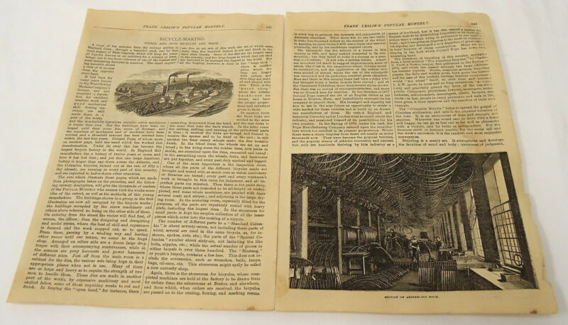 1881 article with engraving ~ BICYCLE MAKING