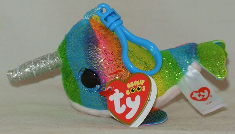 eb7b2bd4e40 New! 2018 Summer Release Ty Beanie Boos NORI the Norwhal Key Clip Size