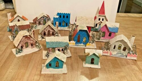 Vintage Putz Mica Lot of 14 Houses Buildings Church Cardboard Christmas Village