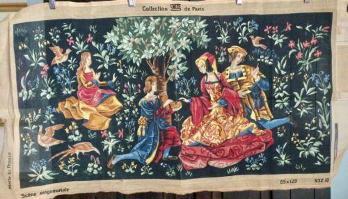 SEG COLLECTION DE PARIS Vintage XL Needlepoint Tapestry Canvas  Stately Garden