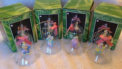 Clown,Bell,Set of 4,Circus,Glass,Christmas,Vintage,Ornament,MIB,Retired 1992