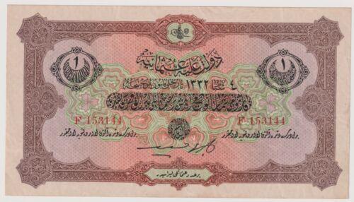 Turkey Ottoman Empire 1 Livre issued 1916 - 1917 (AH1332) Pick99 VF