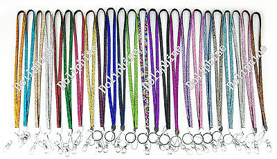Multi Colors Rhinestone Necklace LANYARD Key chain for ID Badge Holder