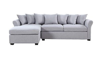 Modern Living Room Large Linen Sectional Sofa Couch Extra Wide Chaise - Grey