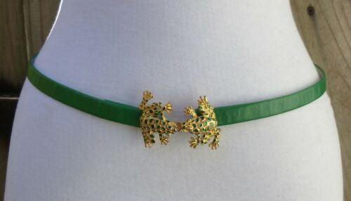 Vtg Textured Green Enamel Gold Tone Double Frog Buckle w/1/2 faux Leather Belt