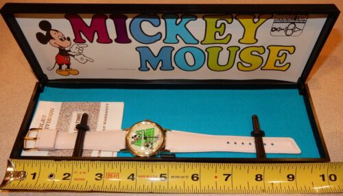 Bradley Mickey & Minnie Mouse Playing Tennis Wind Up Watch READ
