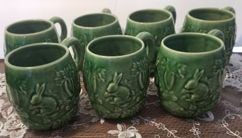 BORDALLO PINHEIRO 7 Easter Bunny Spring Mugs Green Portugal