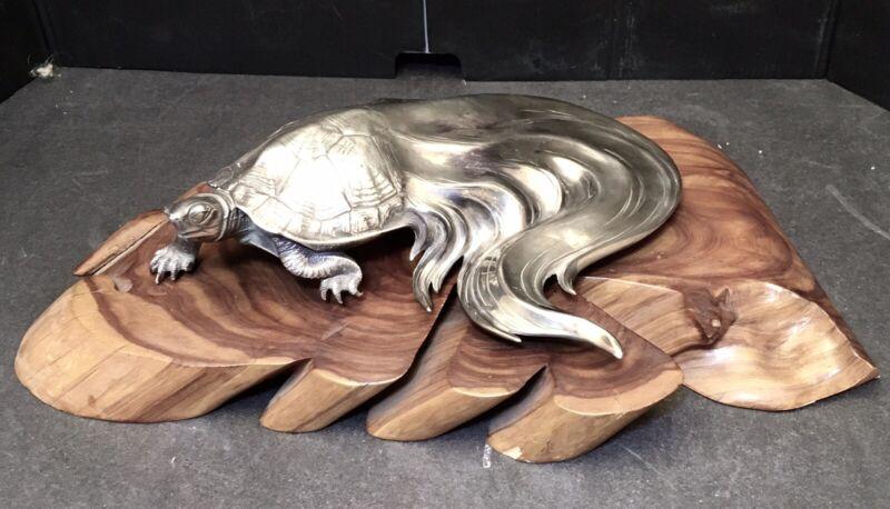 Gorgeous Japanese Taisho Sterling Silver Okimono - Turtle w/ Gold Eyes, Signed