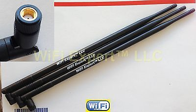 3 9dBi 2.4GHz 5GHz Dual Band RP-SMA WiFi Antennas Netgear R7000 Nighthawk AC1900