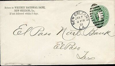 US WHITNEY NATIONAL BANK NEW ORLEANS, LA 1/7/91 PS COVER TO EL PASO, TX 1/10 (Whitney Bank)
