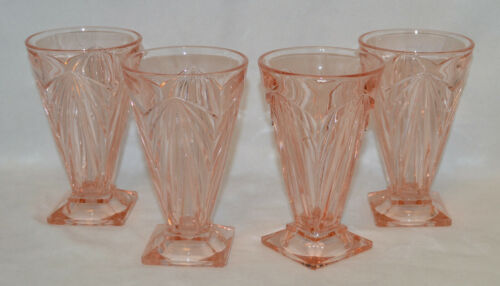 "4 Beautiful Indiana Glass # 610 - Pyramid ""Pink"" 8 Oz Tumblers - 1926 - 1932"