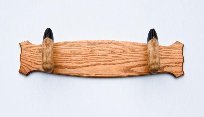 Taxidermy Deer Hoof Foot Feet Gun Rack on Oak Plaque Gunrack