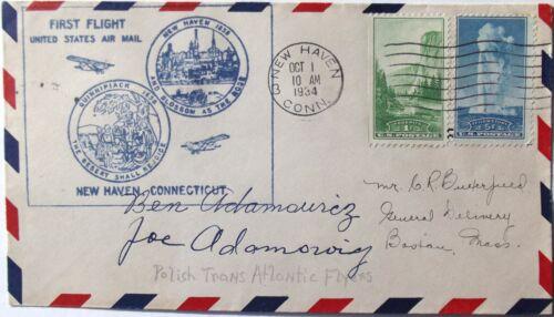 Adamowicz Brothers Aviation Pioneers 1934 Transatlantic Flight Autographs Rare