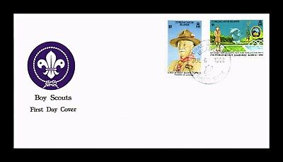 DR JIM STAMPS BOY SCOUTS FDC TURKS AND CAICOS COMBO MONARCH SIZE COVER