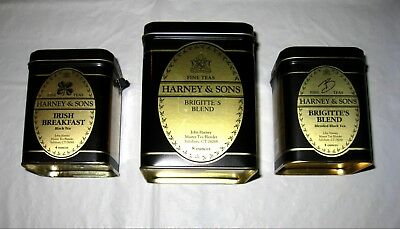 Lot of 3 EMPTY Harney & Sons Tea Tins Containers: Irish Breakfast Brigitte -