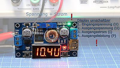 Spannungsregler einstellbar KSQ 36V/5A LED Anzeige für Spannung, Strom, Leistung