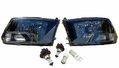 Black Headlights Lamps & Replacement Bulbs Left Right Lights for 09-18 Dodge Ram, used for sale  Campbell River