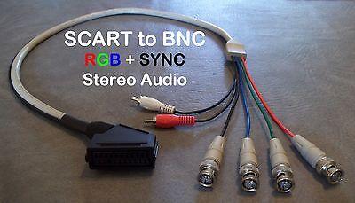 Audio Multi Platform (Female RGB Euro SCART to 4 BNC + Audio Cable Sony PVM Sega Genesis SNES Neo Geo )