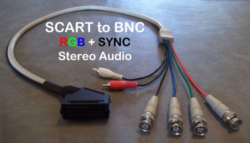 Female RGB Euro SCART to 4 BNC + Audio Cable Sony PVM Sega Genesis SNES Neo Geo
