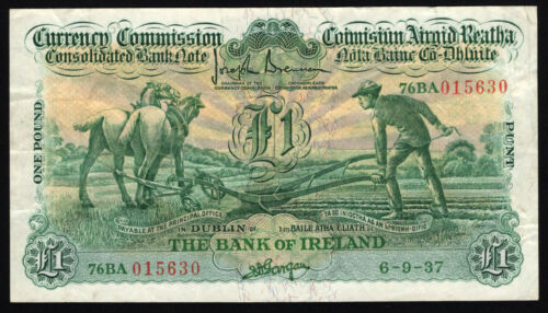 Currency Commission Consolidated Ploughman £1 Bank of Ireland, date 6.9.37, VF